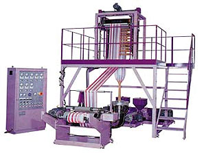 SJ-45/SJ-50 Double-color Stripped HDPE/LDPE Film Blowing Machine